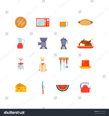 kitchen stuff cooking food icons flat stock vector 316151675
