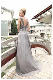 silver pleated evening dress with cowl neckline 30273 elliot