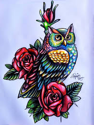 Colorful Owl With Roses Tattoo Design By Amber Owl Coloring Ideas