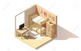isometric low poly children room cutaway icon room includes isometric low poly children room cutaway icon room includes bunk bed computer table with
