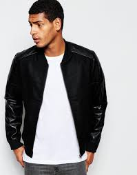 Wool Bomber Jacket Mens Produkt Wool Bomber Jacket With Faux Leather Sleeves In Black For