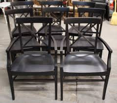 8 black pottery barn stefano dining room table chairs 2 arm chairs
