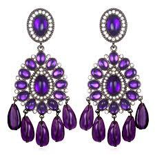 purple earrings 47 purple chandelier earrings items similar to purple