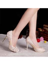 wedding shoes gold color lace floral chagne satin leather high heel bridal wedding