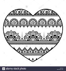 valentine u0027s day heart mehndi indian henna tattoo pattern stock