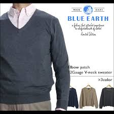 navy sweaters hub store rakuten global market blue earth v neck cotton