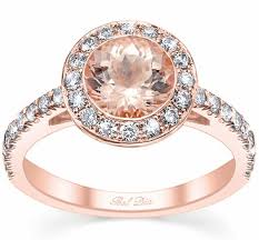 halo wedding ring morganite gold bezel style halo wedding ring
