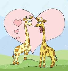 two giraffes with hearts royalty free cliparts vectors and stock