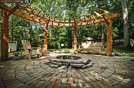 Patio And Firepit by Circular Pergola Stone Patio And Fire Pit For The Home