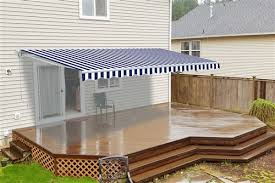 Patios And Awnings Retractable Patio Awning Blue And White Striped Aleko
