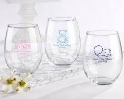 personalized baby shower favors personalized 15 oz stemless wine glass baby favors by kate aspen