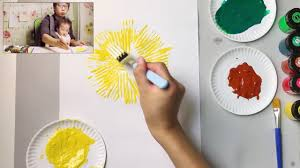 fork paint sunflower craft idea easy simple painting for kids 2