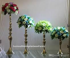 new gold iron trumpet vase for wedding centerpiece mental flower