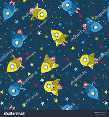 seamless kids pattern rocket ships stars stock vector 482181658