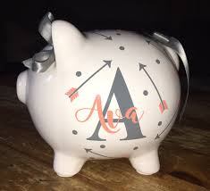 silver piggy bank for baby personalized piggy bank with arrows custom piggy bank baby
