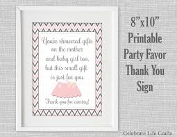 baby shower printable thank you favor sign printable baby