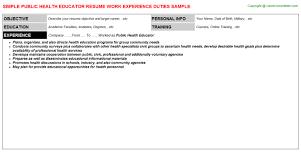 Public Health Resumes Public Health Educator Resume Sample