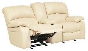 Electric Reclining Loveseat Damacio Cream Glider Power Reclining Loveseat With Console From