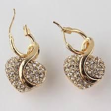 design of earing 18k gold filled shine austrian heart shape atperrys
