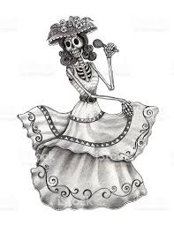 Halloween Skull Drawings Skull Art Dance And Song Day Of The Dead Stock Vector Art