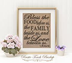 bless the food before us burlap kitchen decor rustic kitchen