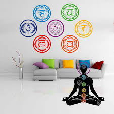 online buy wholesale home decor wall stickers meditation from 19x19cm chakras wallpaper stickers mandala yoga om meditation symbol wall decals chakra home decor wall decoration