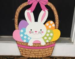 Wooden Outdoor Easter Decorations by Easter Waving Bunny On Easter Egg Outdoor Wood By Chartinisyardart