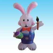 easter rabbits decorations 4 foot party bunny holding paintbrush