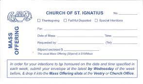 parish of st ignatius mass offering