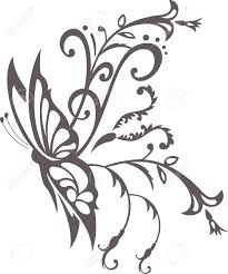floral ornament with butterfly element for design royalty free