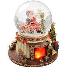 werchristmas 19 cm animated snow globe with pre lit fireplace