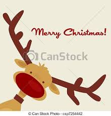 clip art of christmas card with reindeer illustration csp7254442