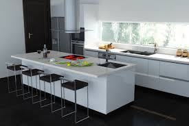 white rectangle kitchen island with modern high stools on black