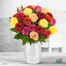 Multi Colored Roses Bouquet Of 25 Multi Colored Roses Pret 80 00 Eur Floria Ro