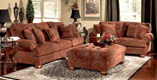 traditional sofas living room furniture living room gray decorative rug and brown floral print sofas