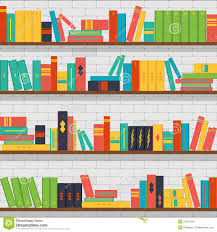 library bookstore seamless pattern with books on bookshelves