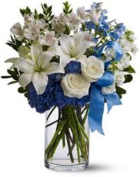 white bouquet happy valley blue and white bouquet