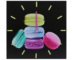 tableau en verre pour cuisine horloge tableau toile murale pendule deco gourmand macaron 550