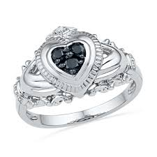 claddagh rings 1 6 ct t w enhanced black and white diamond claddagh ring in