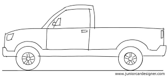 car drawing tutorial pick up truck side view junior car designer