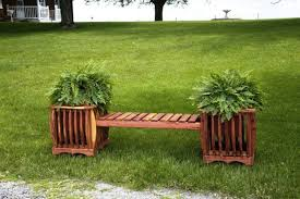 planting box wood beautiful plants containers as decorations
