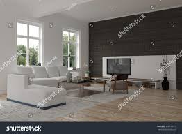 Tv Accent Wall by Spacious Modern Living Room Interior Black Stock Illustration