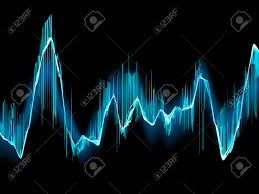 bright sound wave on a dark blue background royalty free cliparts