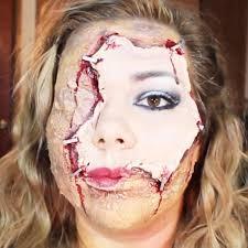 horrifying halloween makeup diy scarred face with flayed human
