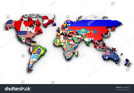 3d Map Of The World by 3d World Map World Flags Raised Stock Illustration 161065253