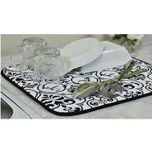 kitchen drying mat envision home black white damask dish drying mat