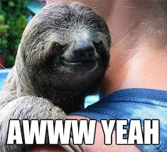 Aw Yeah Meme - awww yeah suspiciously evil sloth quickmeme
