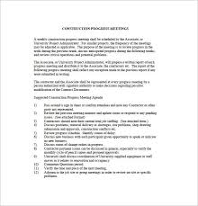 Construction Progress Report Template Free by Project Meeting Minutes Template 10 Word Excel Pdf Format