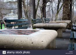 tables in central park chess tables in new york city central park stock photo 157485758