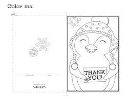 penguin thank you card free printable coloring pages